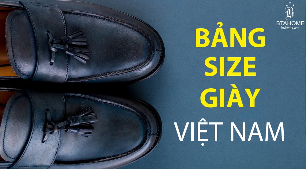 bảng size giày